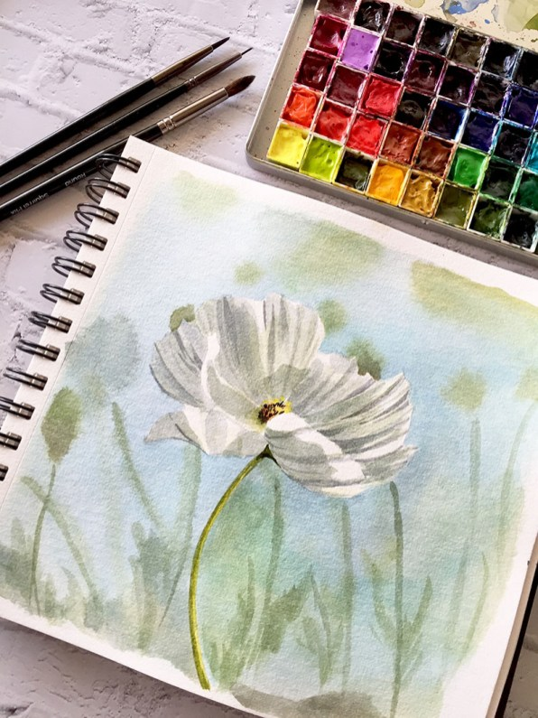 White Flower Watercolor Painting by Michelle Gonzalez