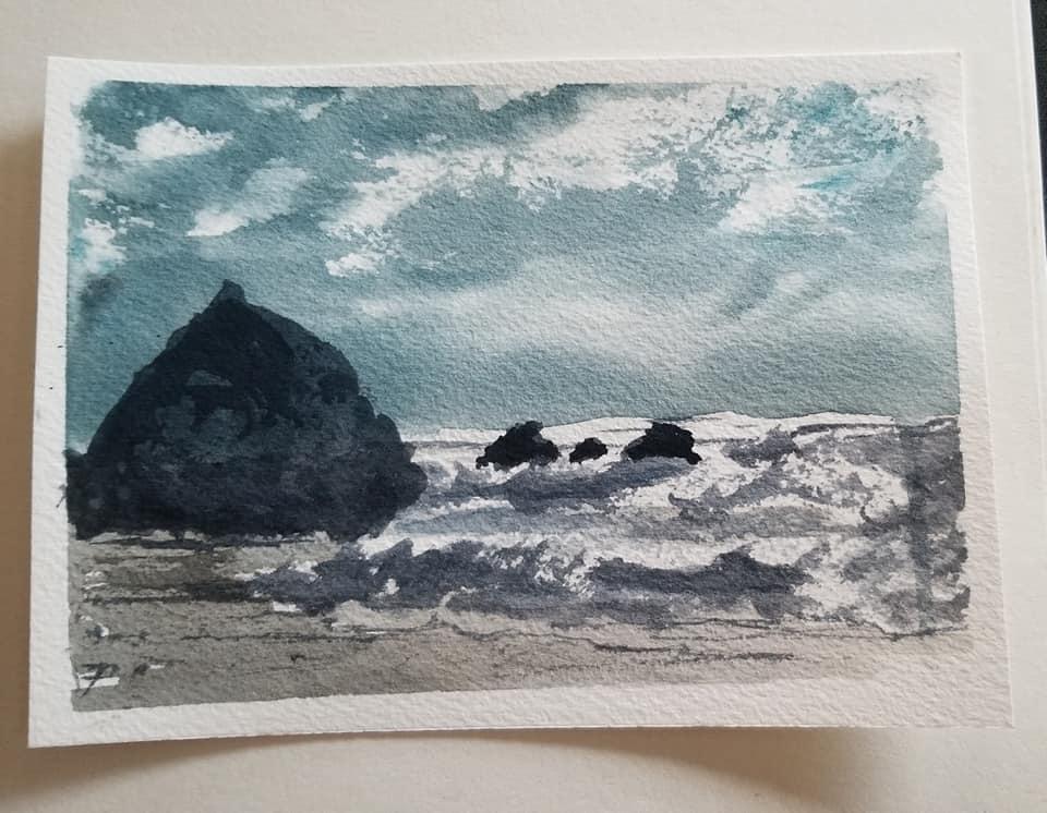 Wild windy stormy beach