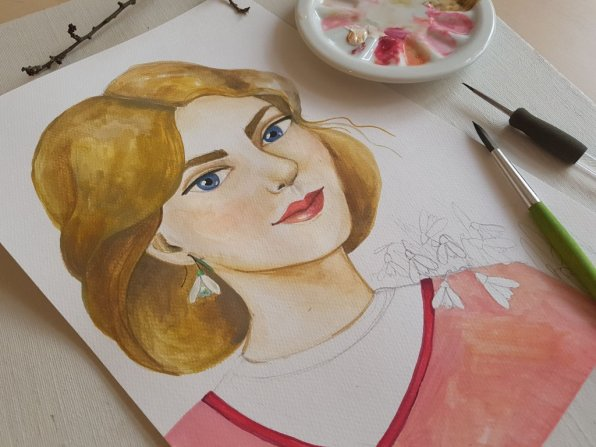 Woman portrait aquarelle painting