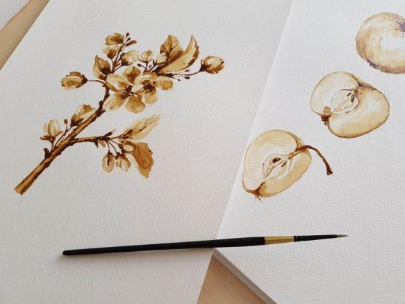 apples leaves aquarelle by Jitka Zajíčková
