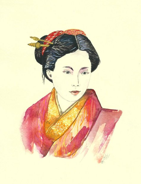 geisha watercolor painting by Jitka Zajíčková