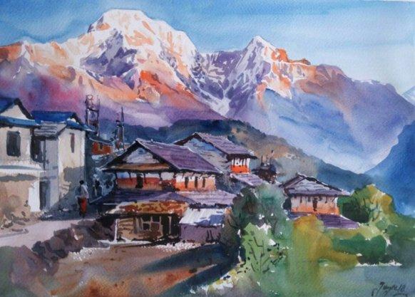 ishan_pariyar_Landscape at Ghandruk_watercolor_on paper_28x38cm_2013