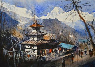 ishan_pariyar_Muktinath_38x28cm_watercolor_on paper_2014