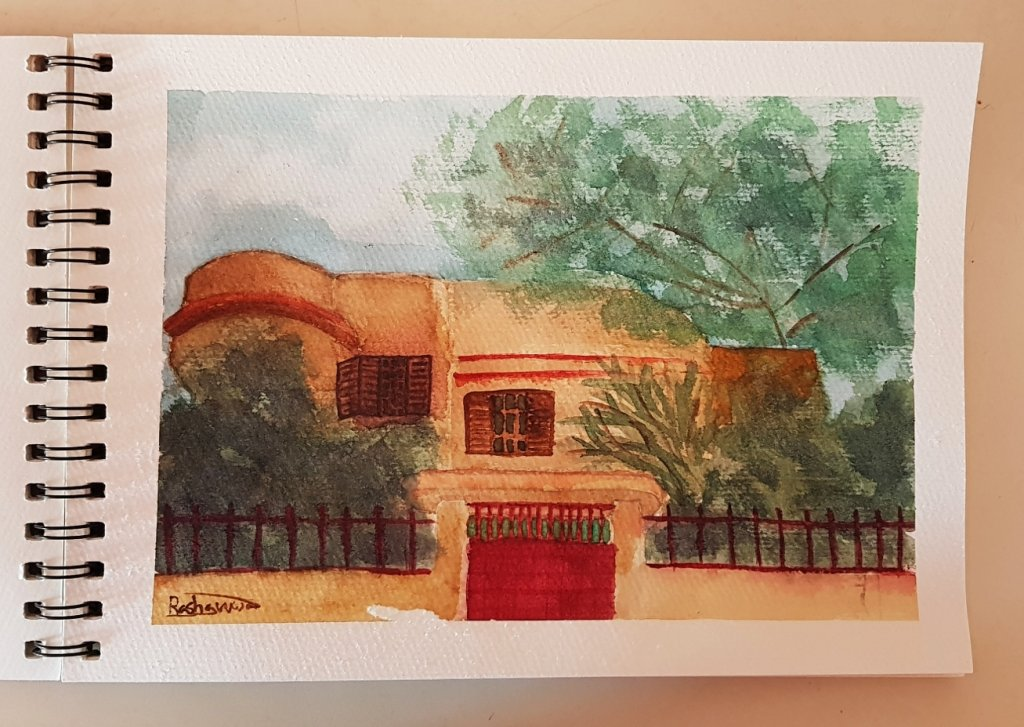 Old House- Gaza Watercolor painting of an old house in my city. Based on a reference photo I took. o