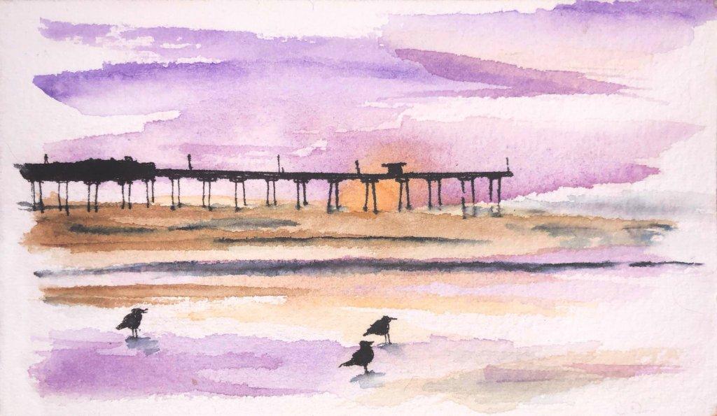 San Diego Pier watercolor_pier