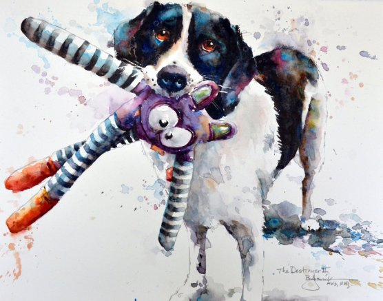2015 The Destroyer II dog with toy in mouth watercolour