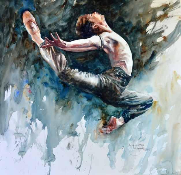 2019 As if on wings 22x22 male dancer watercolor by Bev Jozwiak