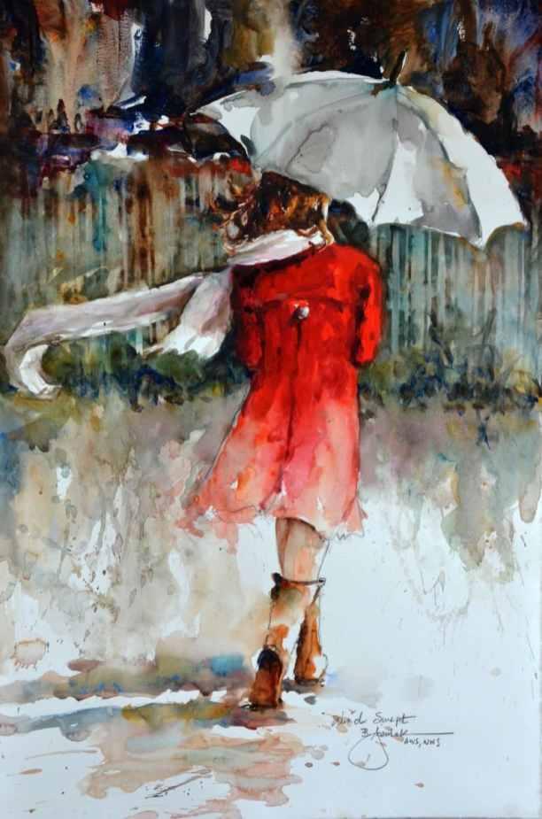 2019 Wind Swept 13x19 Rain Umbrella Watercolor by Bev Jozwiak