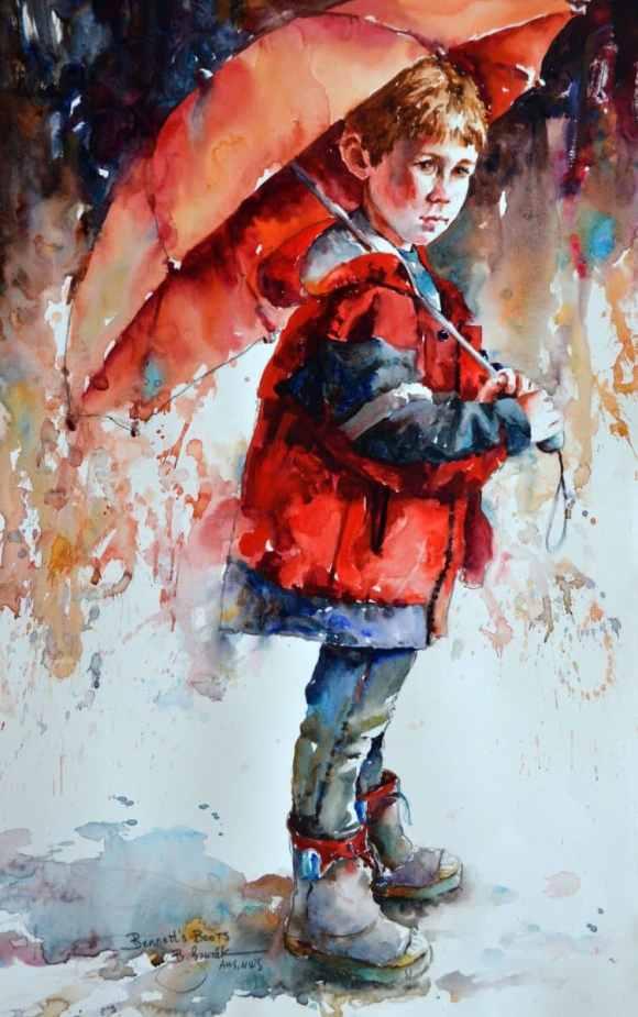 2020 Bennett's boots Rain Umbrella Watercolor by Bev Jozwiak