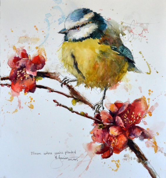 2020 Bloom where you're planted 13x15 Tit Bird Watercolor by Bev Jozwiak