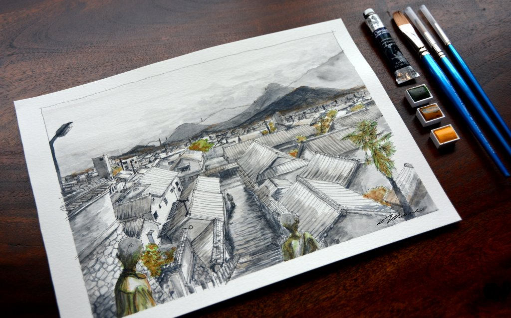 From The Hill | Mitarai, Japan 9×12"