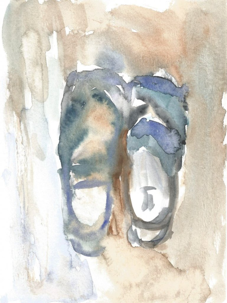 slippers, watercolor, 18 x 21 cm, 2019 r. 39(1)_18x24_2020