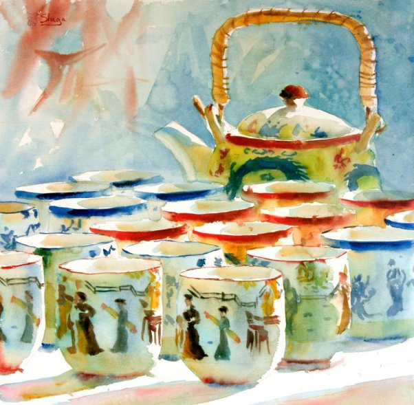 CHINESE TEA Watercolour Painting