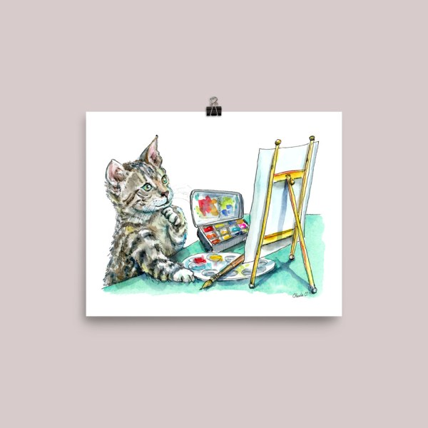 Cat Thinking Artist Easel Watercolor Print