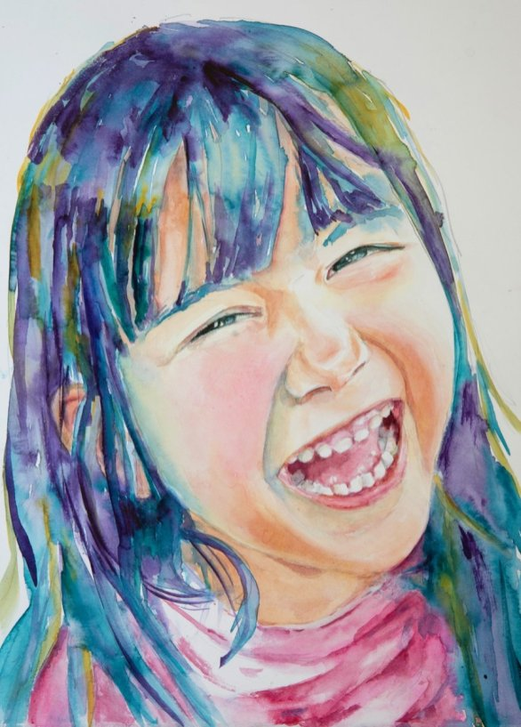 Child Laughing Watercolor Portrait