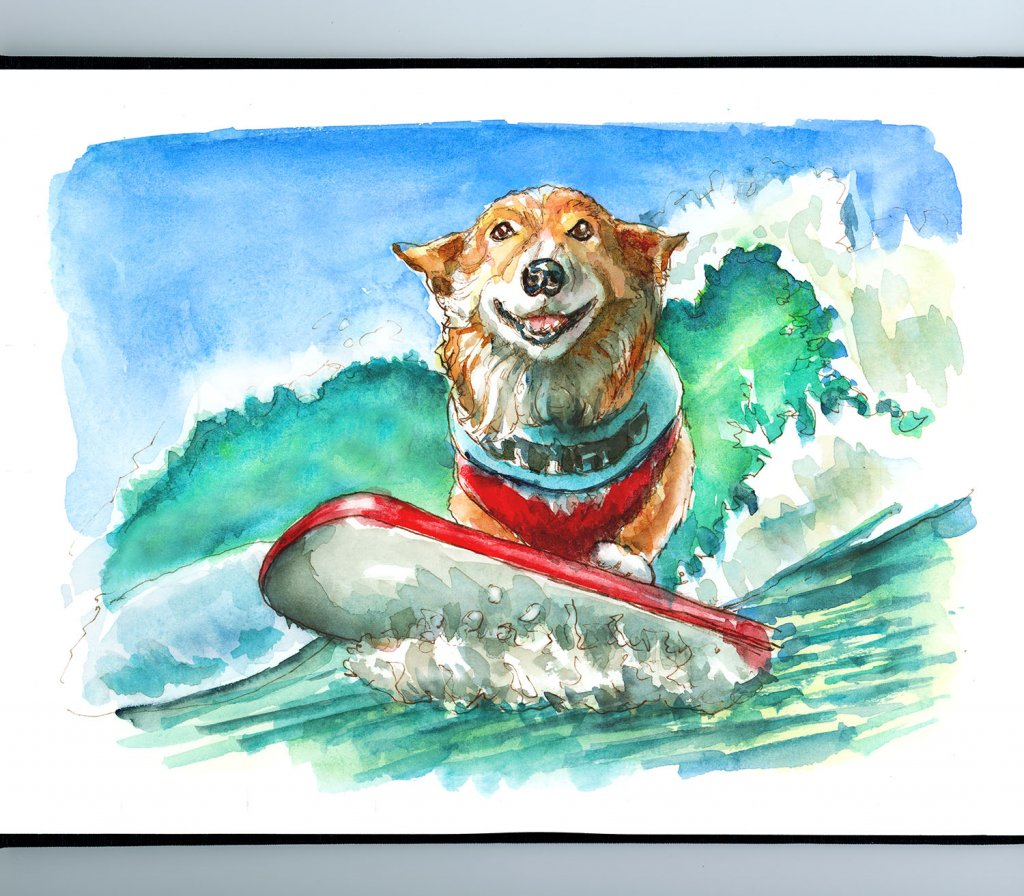 Surfing Corgi Dog Waves Ocean Watercolor Painting Illustration