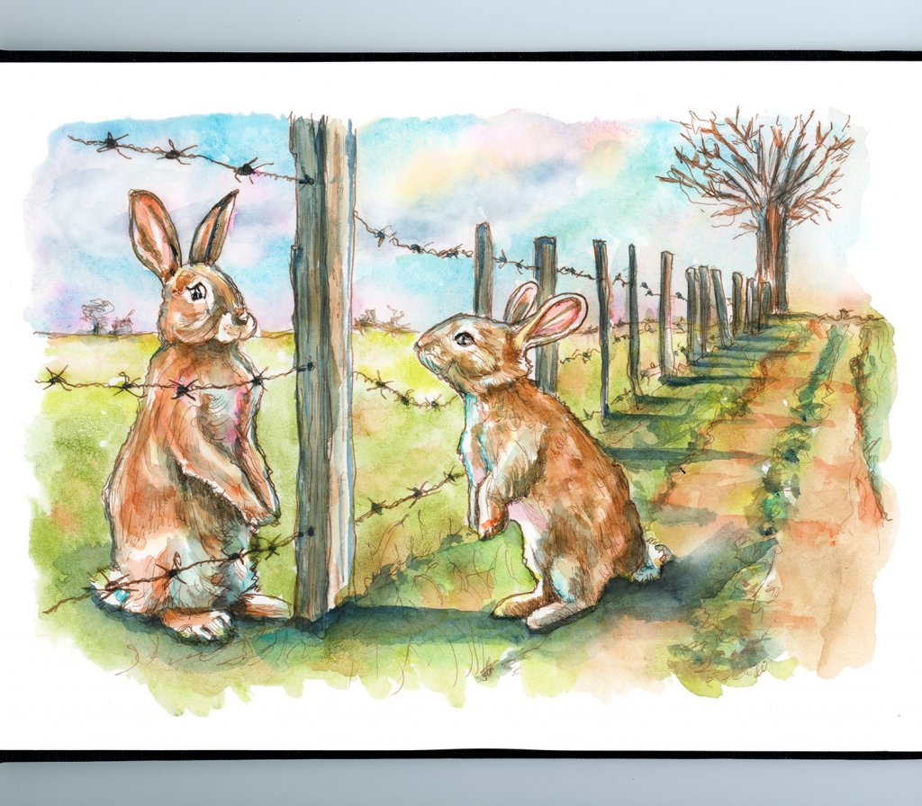 Rabbits Social Distancing Barbed Wire Farm Fence Watercolor Painting Illustration Sketchbook Detail
