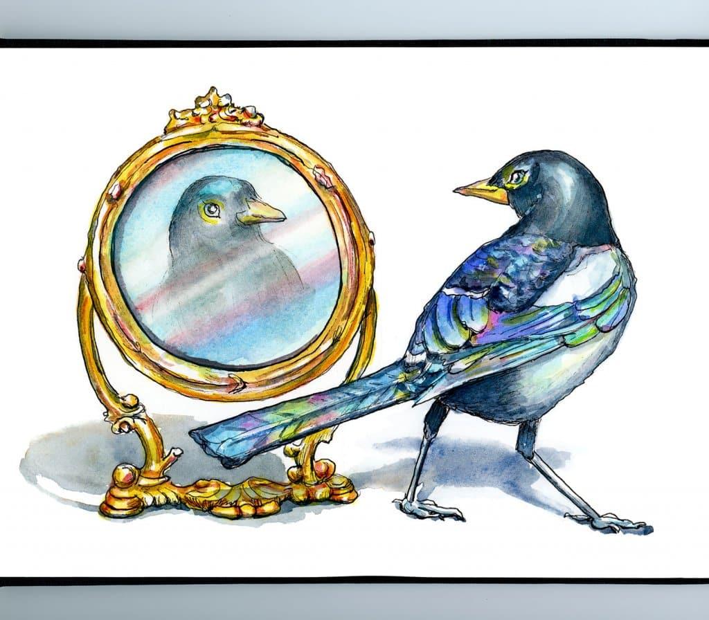 Magpie Bird Self Aware Looking In Mirror Watercolor Painting Illustration Sketchbook Detail