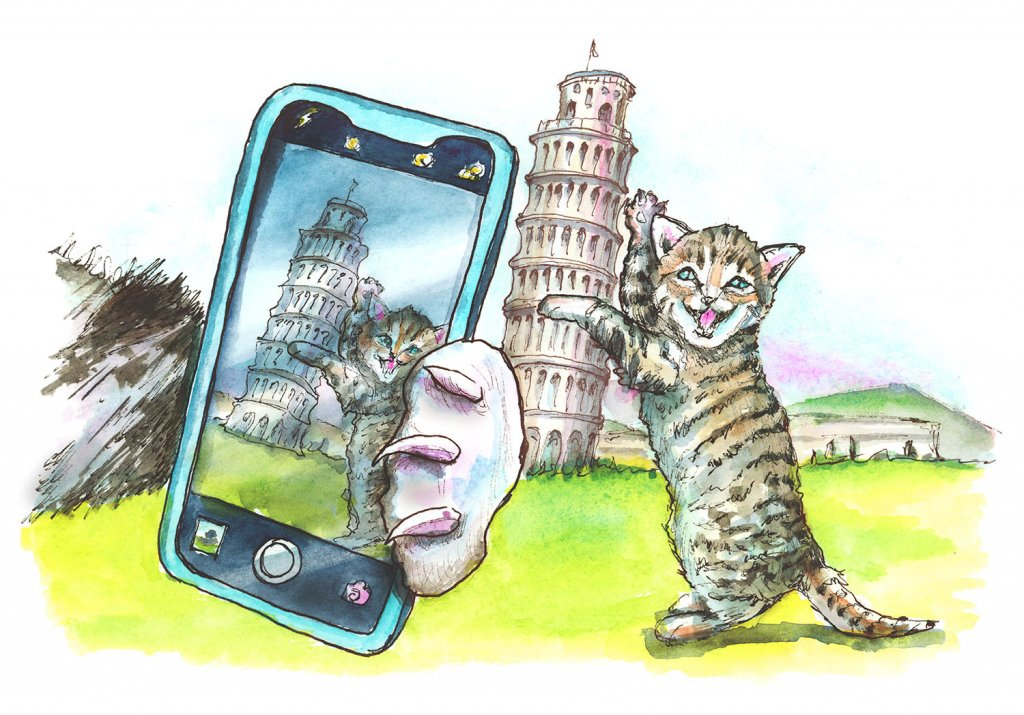 Cats Taking Selfie At Leaning Tower Of Pisa Watercolor Painting Illustration