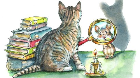 Cat And Mouse Game Magnifying Glass Mystery Books Watercolor Painting Illustration