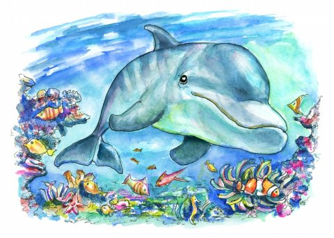 Dolphin Swimming Underwater Coral Reef Fish Watercolor Painting Illustration