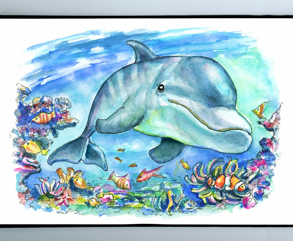 Dolphin Swimming Underwater Coral Reef Fish Watercolor Painting Illustration Sketchbook Detail