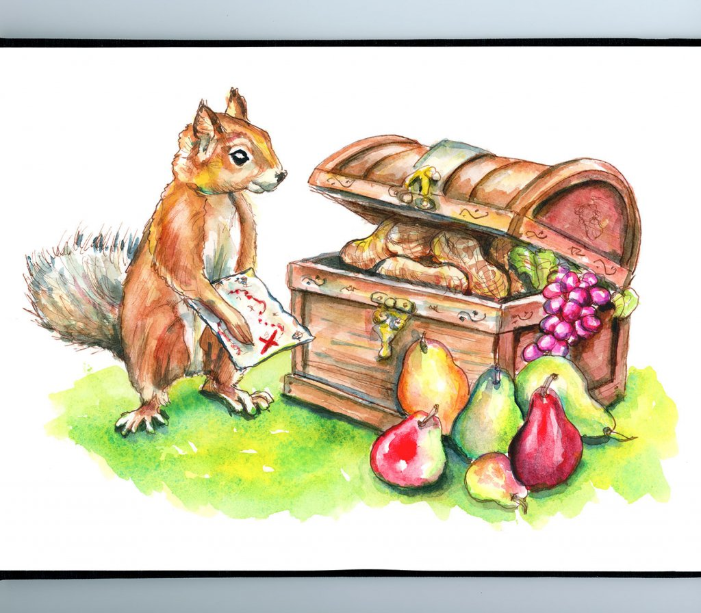 Squirrel Finding Treasure Map Chest Fruit Nuts Watercolor Painting Illustration Sketchbook Detail