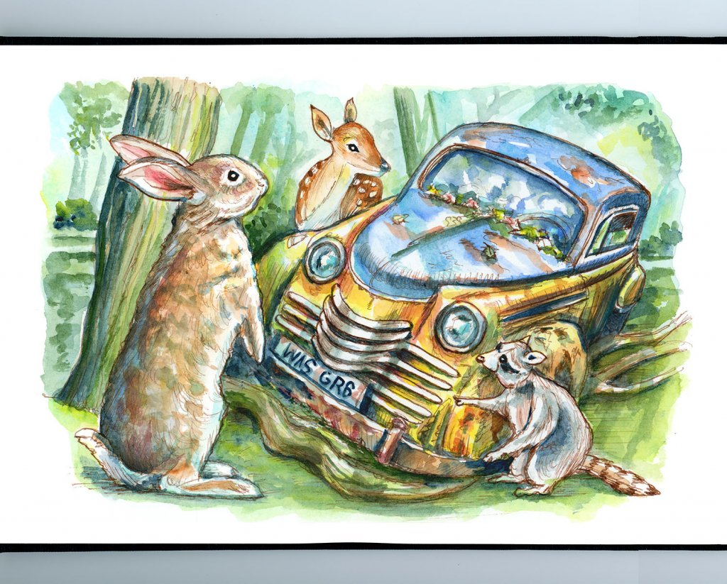 Woodland Animals Rabbit Deer Raccon Finding Rusted Car In Forest Watercolor Painting Illustration Sketchbook Detail
