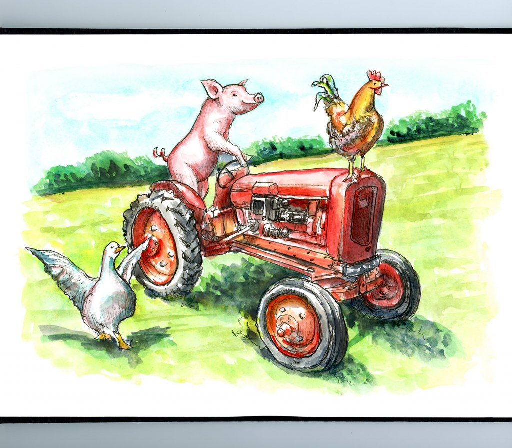 Pig Riding Tractor Rooster Goose Farm Watercolor Painting Illustration Sketchbook Detail