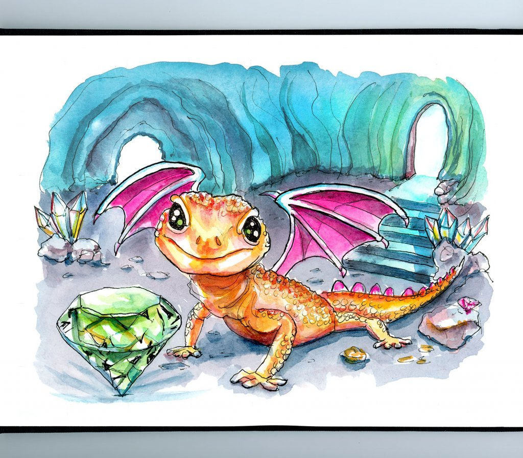Tiny Dragon Emerald Crystal Cave Watercolor Painting Illustration Sketchbook Detail