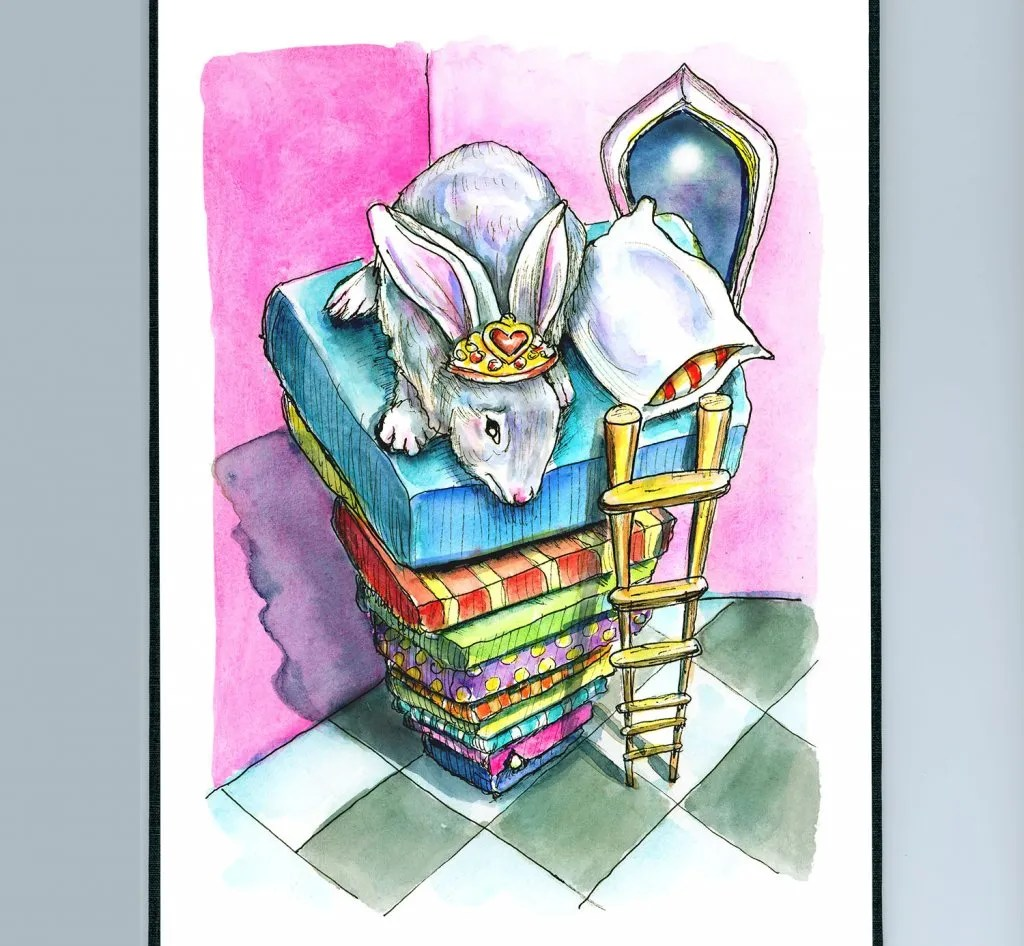 Princess And The Pea Bunny Rabbit Watercolor Painting Illustration Sketchbook Detail