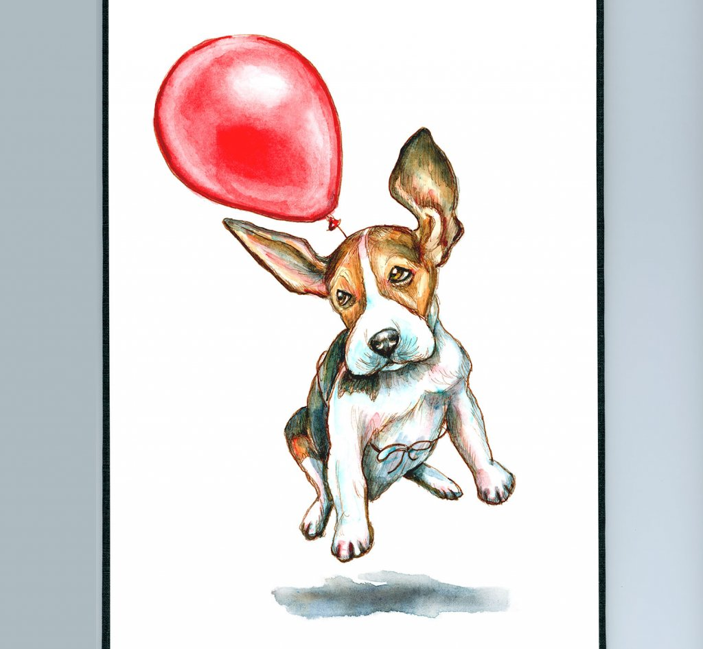 Beagle Dog Flying Floating Red Balloon Watercolor Painting Illustration_IG