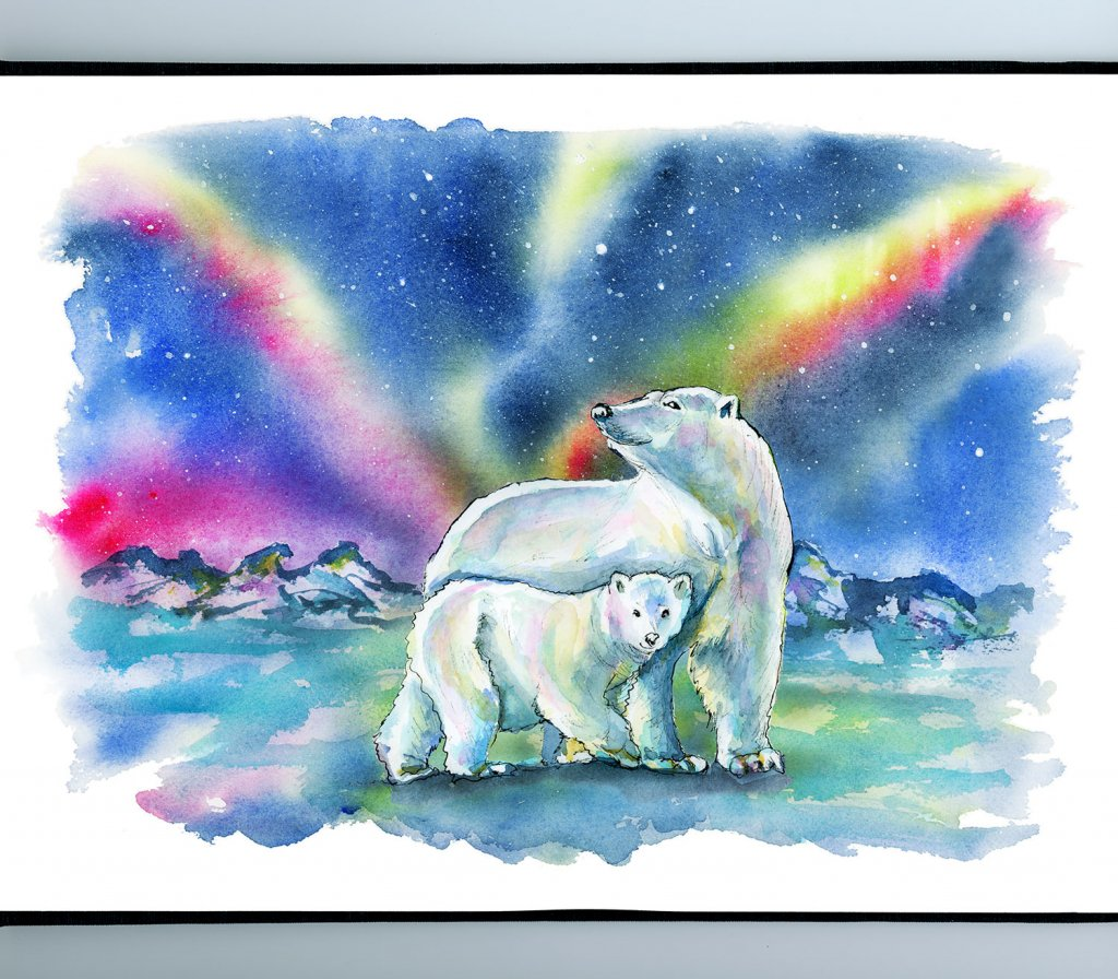Polar Bear Mother Baby Northern Lights Watercolor Painting Illustration Sketchbook Detail