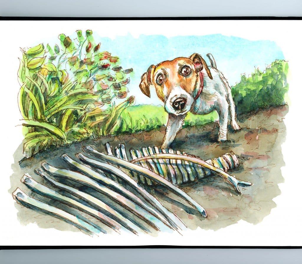 Dog Digging Up Dinosaur Bones Watercolor Painting Illustration Sketchbook Detail