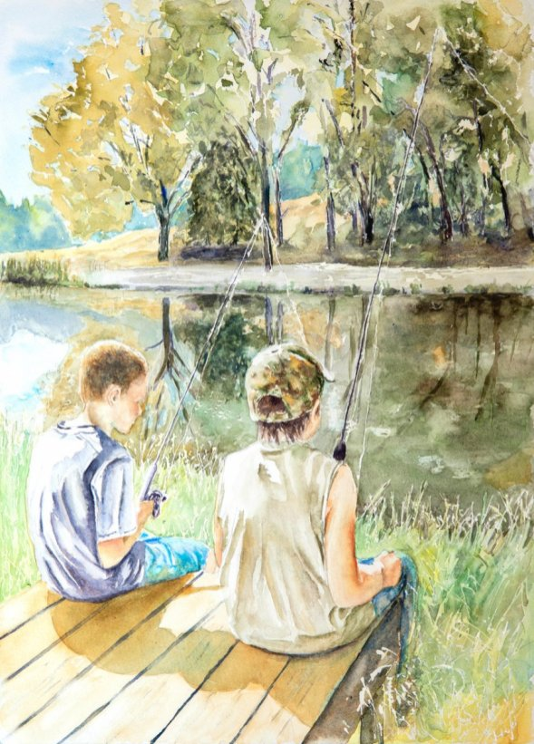 Kids sitting on dock watercolor by Lavonne Cookman