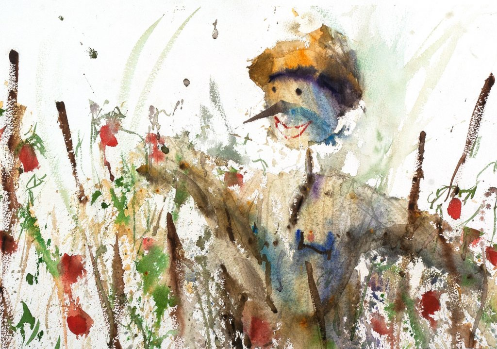 LILY'S SCARECROW Watercolour by Charles Sluga