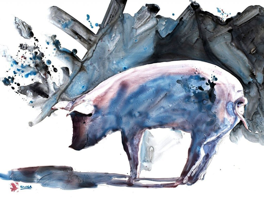 MUD MUD GLORIOUS MUD Watercolour Painting of Pig