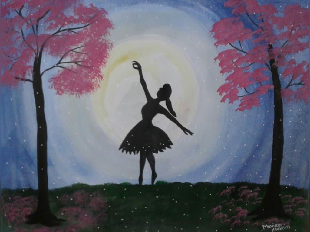 Doodlewash – Dance (A girl dancing in the moon light) #worldwatercolorgroup #doodlewashAugust2