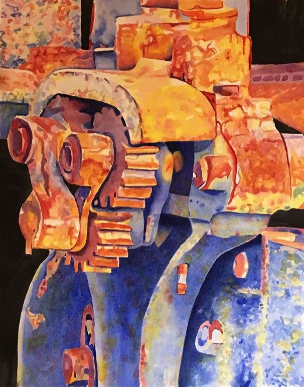 gears watercolor painting by Gail Juszczak