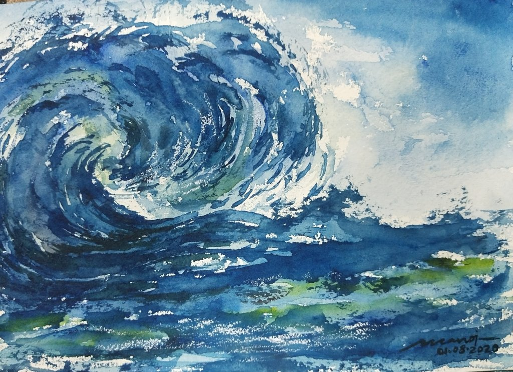 The excitement of the wave. Subject of 01.08.2020. Watercolor painting on handmade paper inbound8578