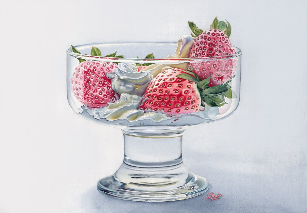 Strawberries in a glass. Daniel Smith watercolors on paper, 52×76 cm, 2020 straw2_2k_cc1_upd