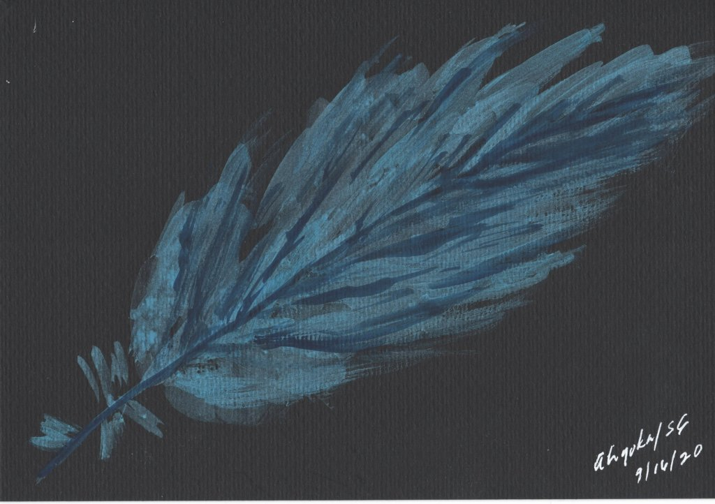 Fun with feathers on black and white. WHITE FEATHERS ON BLACKBLUE FEATHER ON BLACKORANGE,YELLOW FEAT