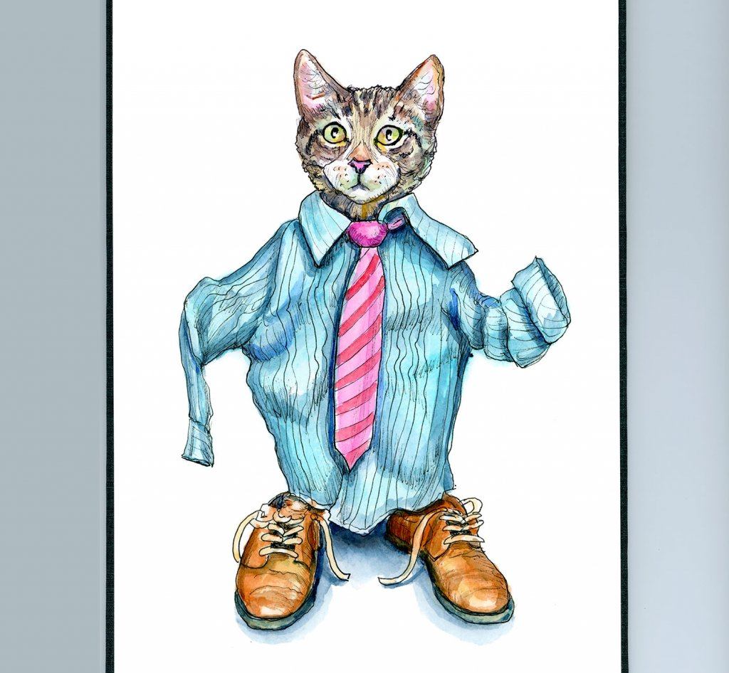 Playing Dress Up Cat Wearing Shirt Tie Shoes Watercolor Painting Illustration Sketchbook Detail