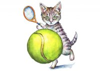 Kitten Cat Playing Tennis Ball Watercolor Painting Illustration