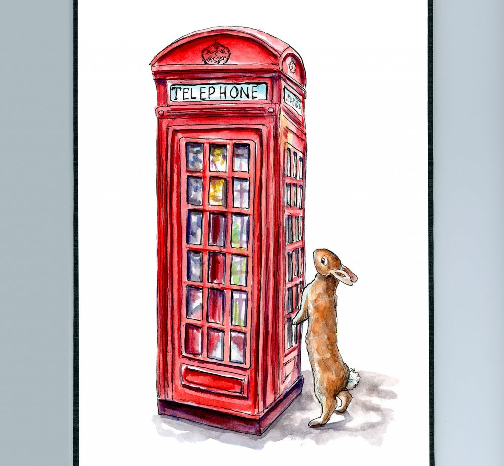 London Phone Booth Rabbit Watercolor Painting Illustration Sketchbook Detail