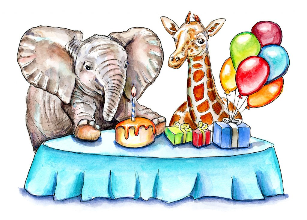Baby Elephant And Baby Giraffe Birthday Party Watercolor Painting Illustration