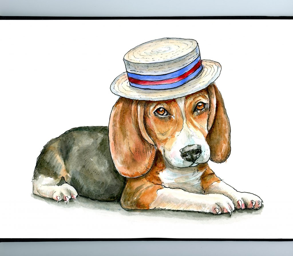 Beagle Puppy Wearing A Boater Watercolor Painting Illustration Sketchbook Detail