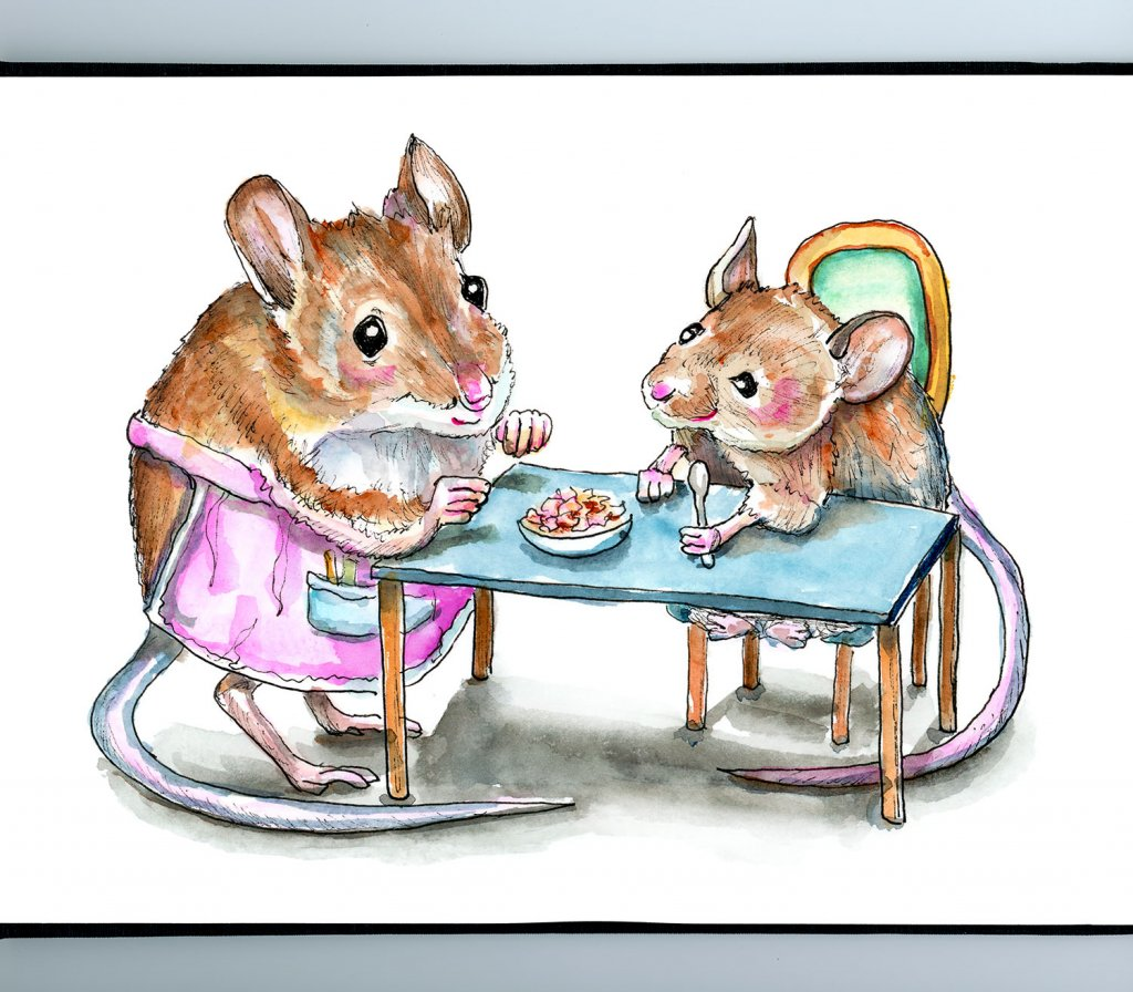 Two Mice Granmother Child Supper Dinner Watercolor Painting Illustration Sketchbook Detail