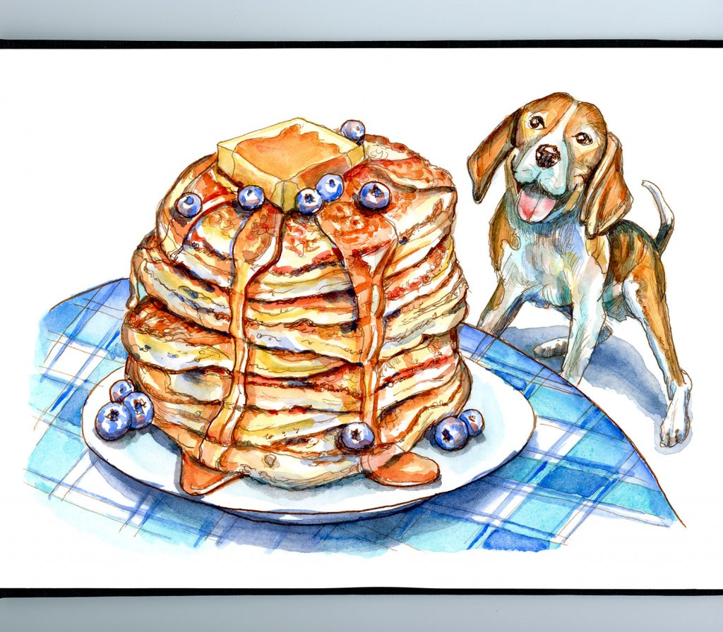 Beagle Dog Looking Up At Pancakes On Table Watercolor Painting Illustration Sketchbook Detail