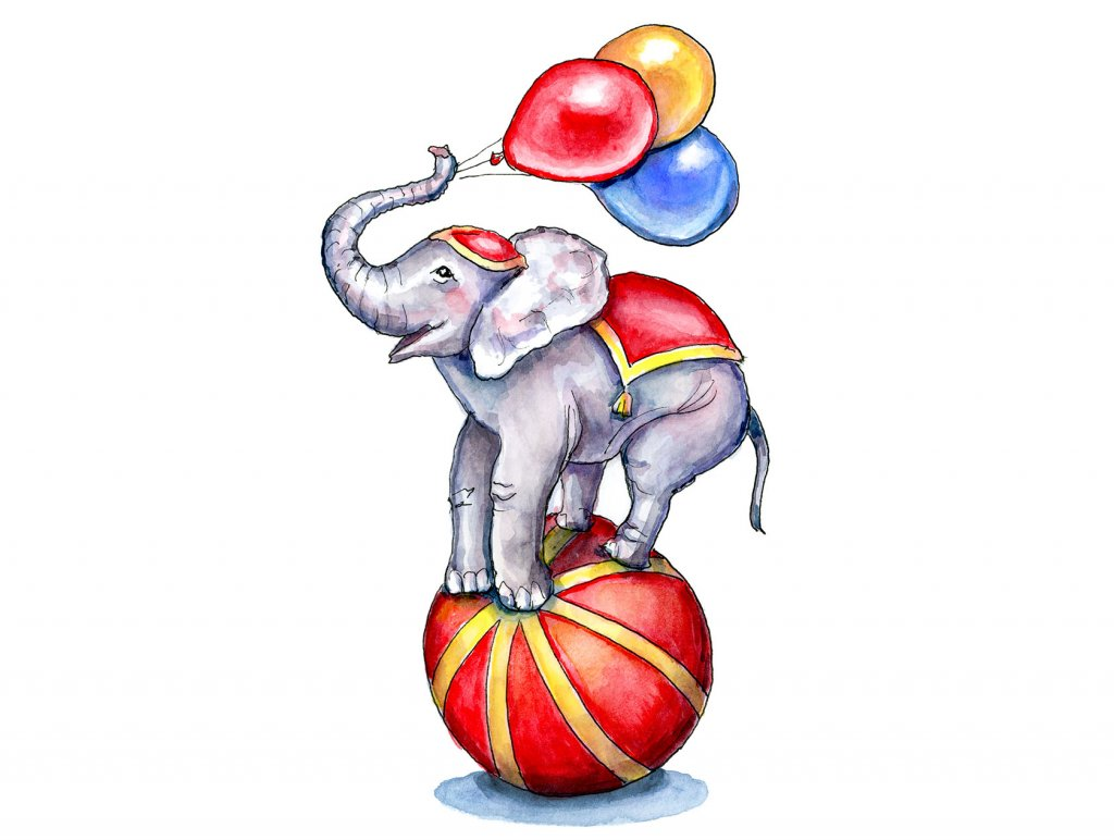 Circus Elephant On Ball With Balloons Watercolor Painting Illustration